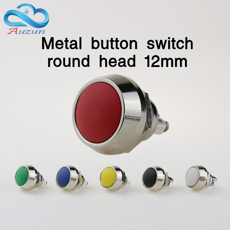 12 mm metal push button switch reset button instantly springback waterproof rust red yellow blue green, black, white ...