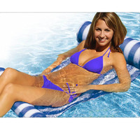 Stripe Water Hammock Lounger Pool Float Inflatable Air Mattress Swimming Pool Equipment Swimming Accessories Water Sleeping Bed
