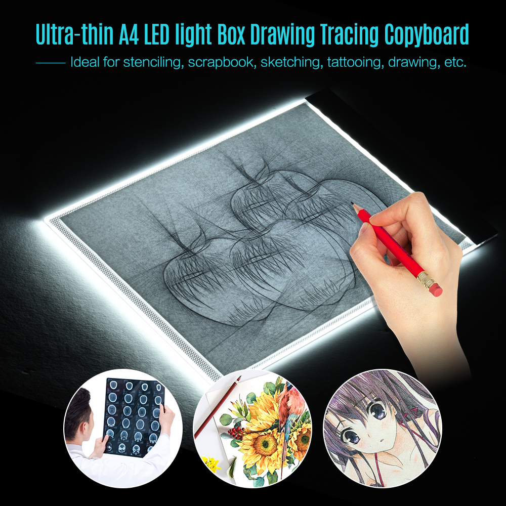 A4 Size Ultra-thin LED Light Pad Box Painting Tracing Panel Copyboard for Cartoon Tattoo Tracing Pencil Drawing X-Ray Viewing m way 35x23x0 52cm ultra thin pencil drawing table graphics tablet a4 led copy adjustable brightness tracing copyboard