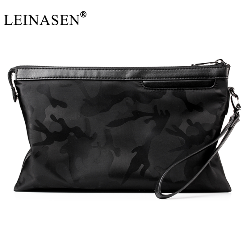 LEINASEN Brand Long Wallets Oxford Men Clutch Bag with Strap Handy Zipper Purse Man Card Holder Phone Pocket Large Capacity 2018 2017 men wristlet wallets pu leather zipper pocket long wallet clutch bags man purse business big capacity bag drop shipping
