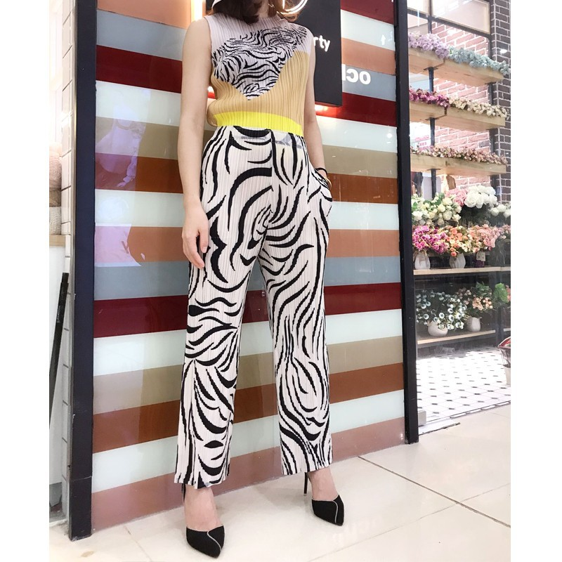New fashion personality zebra pattern pocket high waist casual trousers straight   wide     leg     pants   free shipping