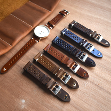 Handmade Vintage Leather Strap Watch Band Watch Accessories Bracelet 18mm 20mm 22mm 24mm dark Red white/black line Watchband dark watch