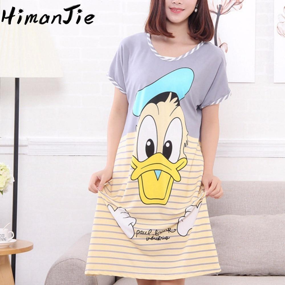 Women Pijama Donald Duck Mouse Bunny SpongeBob Character Print Cartoon Sleepwear Oversized Soft Home Wear Dress Pijama Female