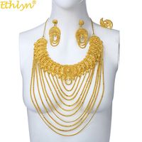 Ethlyn Jewelry Elegant Big Yellow Gold Color Multi layer Chains Jewelry Sets Women Arab/African Bridal Wedding Accessories S209