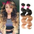 7A Unprocessed Body Wave Virgin Hair Ombre Hair Extensions Body Wave 2 Tone Blonde Brazilian Hair 3 Bundles Ombre Brazilian Hair