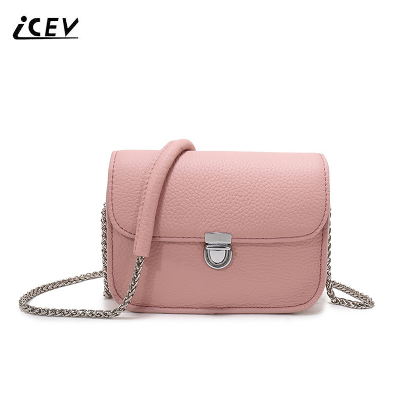 ICEV New Fashion Candy Color Genuine Leather Bags Women Messenger Bags Cow Leather Simple Chains Women Leather Handbag Bolsa Sac 100% genuine leather women handbag female shoulder bag 2017 fashion head layer cowhide simple messenger bags sac bolsa feminina