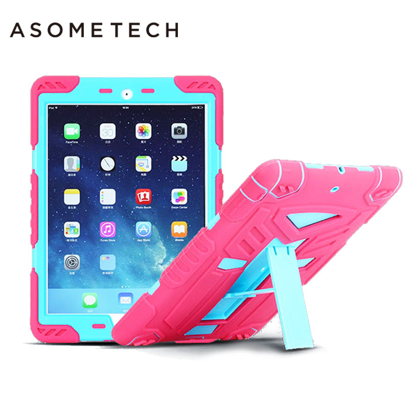 For iPad air 1 2 Baby Safe Silicone Solid Case Shockproof Dustproof Protective Hybrid Armor Stand Cover shell for ipad Pro 9.7