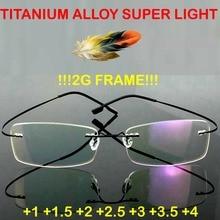 2019 Real Gafas Lentes Opticos Mujer Glasses Hot Selling Brand Titanium Rimless Ultra Light 2g Reading Glasses Frame Minus