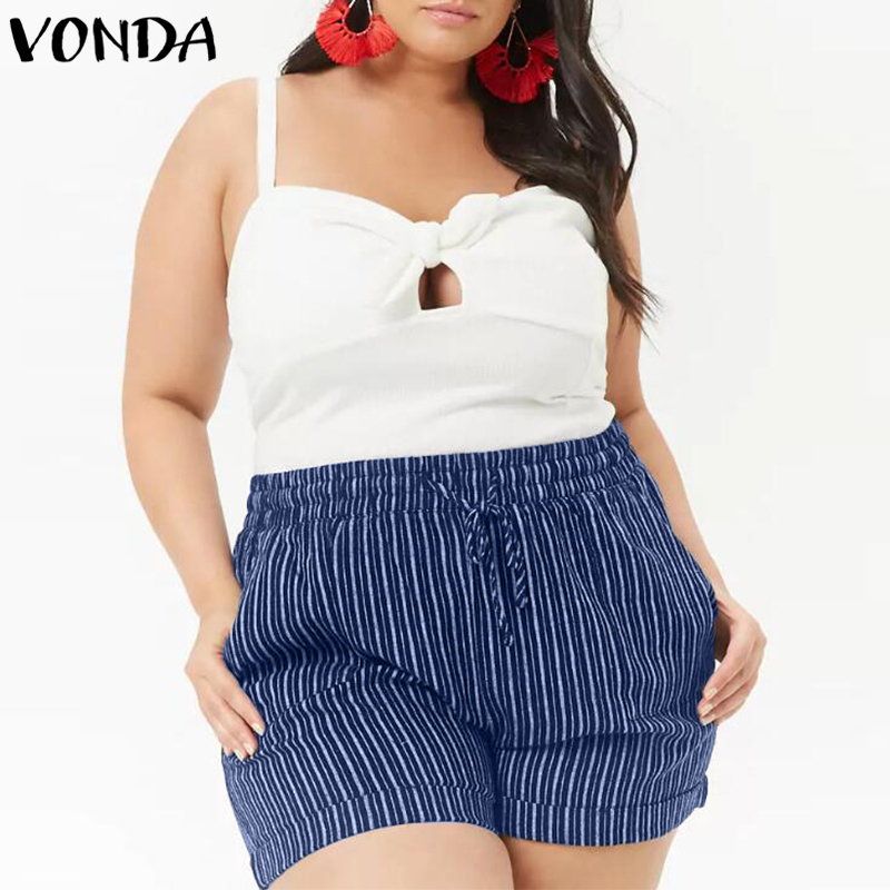 VONDA Plus Size Striped   Shorts   2018 Summer Women Casual Elastic Mid Waist Bottoms Female Baggy Clothings Oversized   Shorts