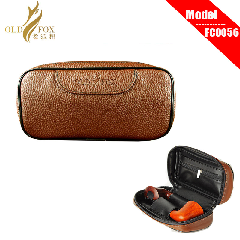 Ru-Litchi PU Leather Tobacco Pipe Pouches For 2 Tobacco Pipes  With Little Pipes Bag Inside  Fc0001-fc0056