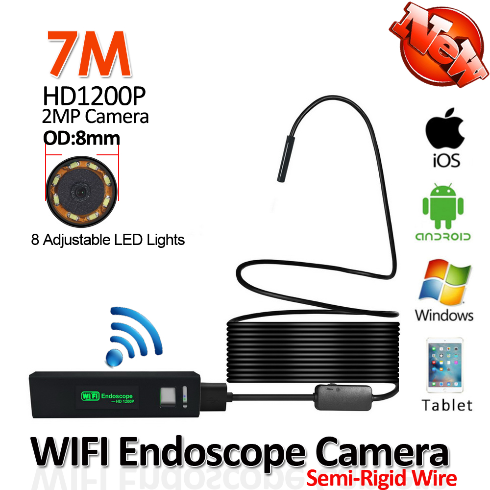 Semi Rigid Snake USB 1200P 2MP WIFI Endoscope Camera 7M 8mm IP68 Android iPhone WIFI Wireless Tube Inspection Borescope Camera 2m hd 1200p wireless wifi endoscope mini waterproof semi rigid inspection camera 8mm lens 8led borescope for ios and android pc