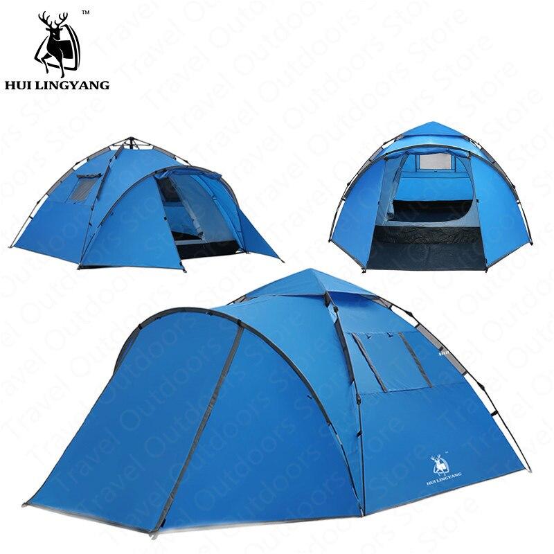 GAZELLE Tente EXTÉRIEURE Rapide Ouverture Automatique Tente de Camping En Plein Air Grand Espace 4-5 Personne Double Couche Tente Famliy Plage tente