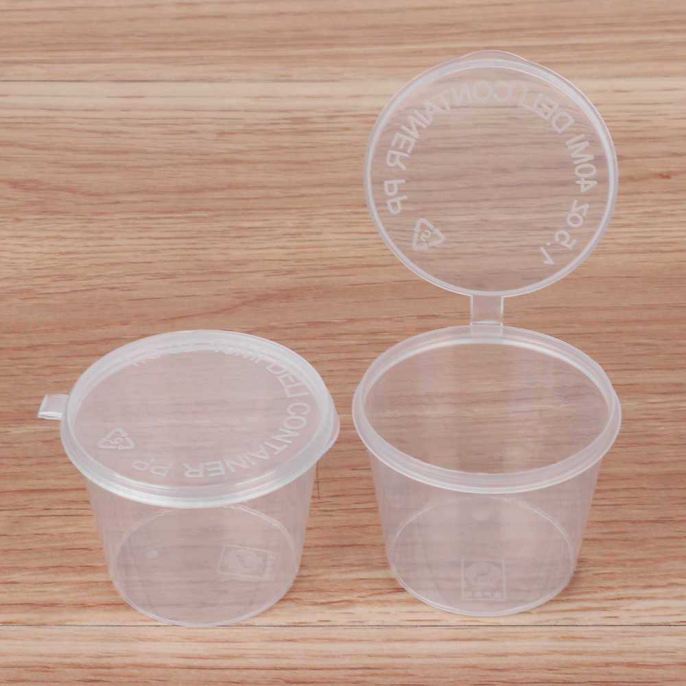 10PCS 40ml Disposable Plastic Takeaway Sauce Cup Containers Food Box With Hinged Lids Small Pigment Paint Box Palette