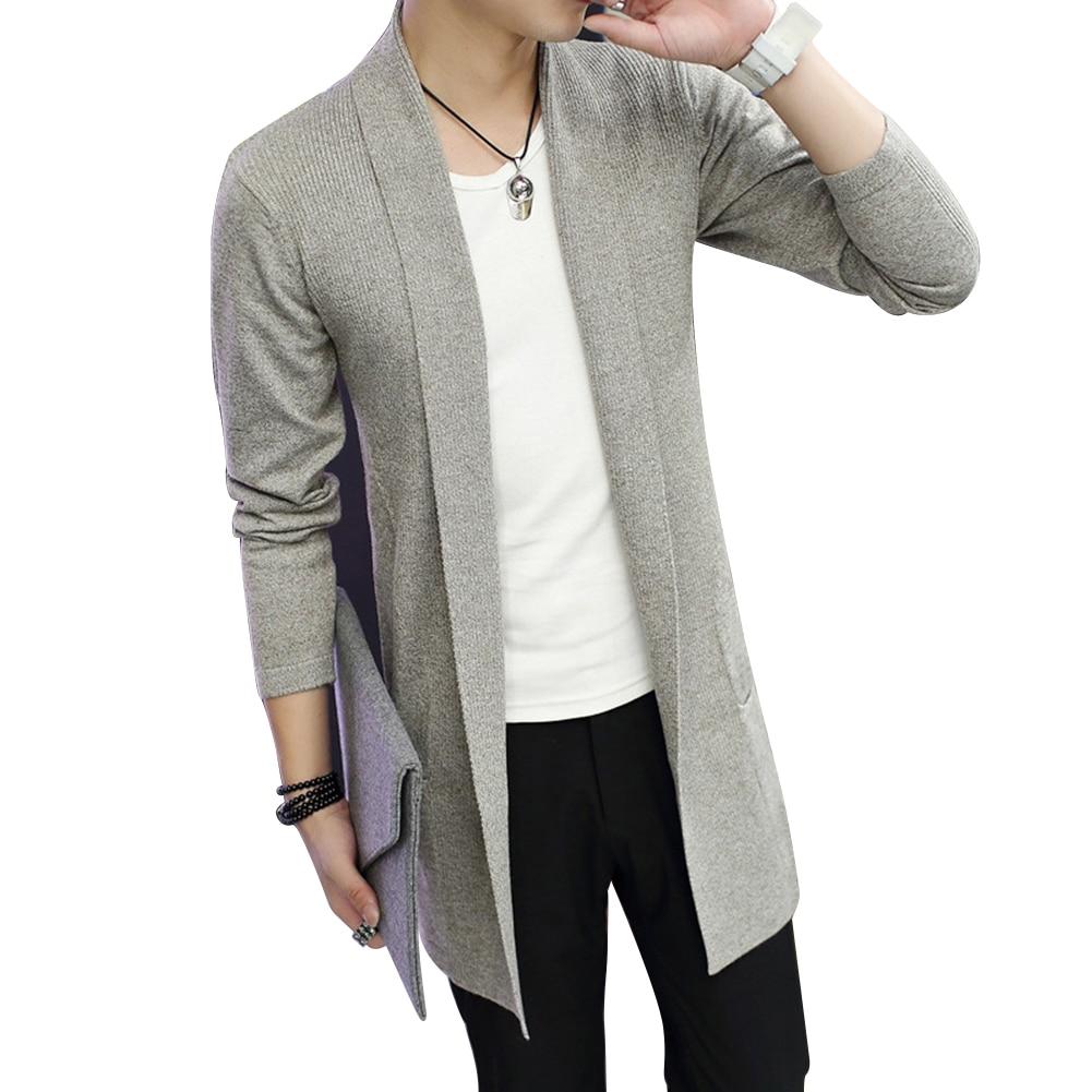Md-с длинным рукавом вязаный кардиган Для мужчин, Цвет пальто Slim Fit пиджаки