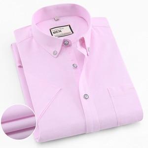 Image 3 - 2019 여름 짧은 소매 100% 코튼 옥스포드 쉬운 관리 일반 맞는 솔리드 스트라이프 격자 무늬 비즈니스 남성 캐주얼 셔츠