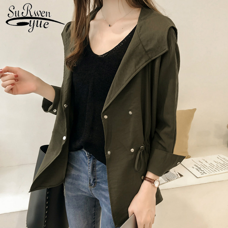 fashion 2019 spring women   trench   female tops casual plus size 3XL 4XL hooded windbreaker long sleeve   trench   women shirts 1729 50