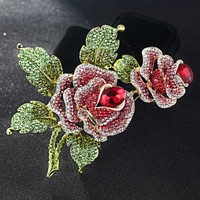 Blucome Big Size Rose Flower Brooch Pin For Party Anniversary Jewelry Perfect Rhinestone Crystal Pin Brooches