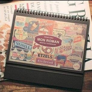 2020 Mon Roman Desk Calendar Program DIY Hand-written Desktop Perpetual Palnner Notebook Stationery