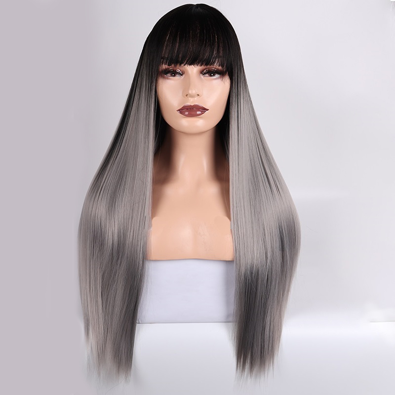 LISI HAIR Long Straight Wig With Bangs Red Bang With Wig Synthetic Hair Wigs For Woman Black Gray Wigs Heat Resistant  26 Inch