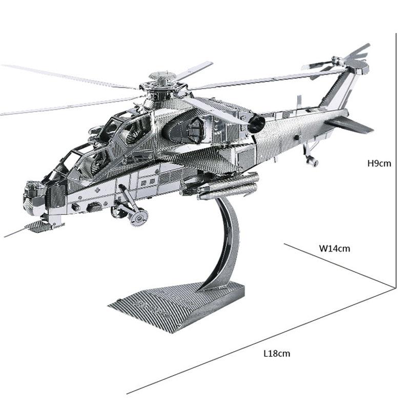 Modèle Kit 3D avion modèles métal Puzzle WUZHI-10 hélicoptère modèles bricolage Laser découpe Puzzles modèle de Puzzle pour adultes enfants jouets