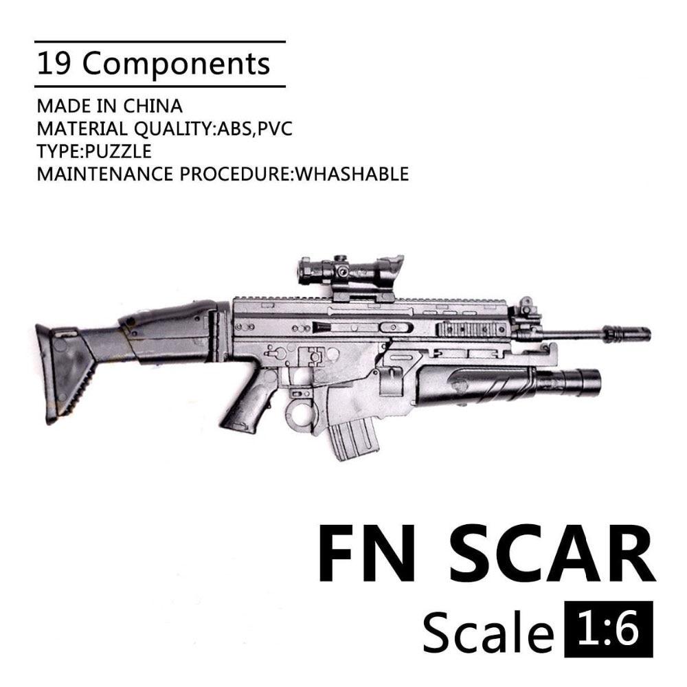 1:6 FN Scar Assault Rifle Gun 1/6 Plastic Puzzle Weapon Model For 12