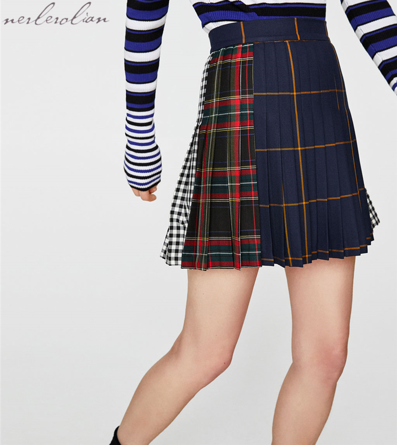 Nerlerolian 2018 Women Cotton Plaid Pleated Skirts High Waist Cute Ladies Short Above Knee Skirts LAT