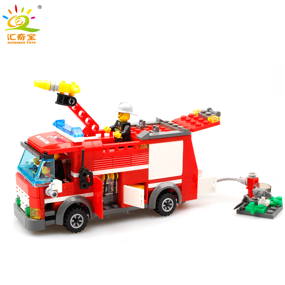 Fire Fighting Truck Cars Building Blocks Small Particles Compatible Legoed City Firefighter figures Enlighten Toys For Children jie star fire ladder truck 3 kinds deformations city fire series building block toys for children diy assembled block toy 22024
