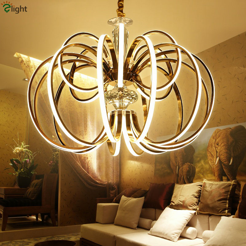 Post Modern Dimmable Luxury Gold/Chrome Led Pendant Light Eelctroplate Aluminium Soft Acrylic Lustre Luminaire Led Hanging Lamp