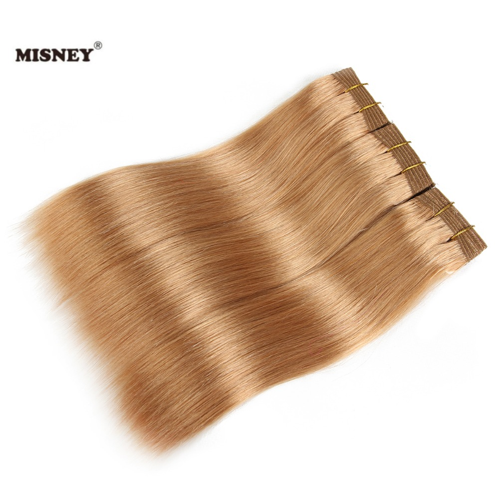 Double Drawn Yaki Straight Human Hair Weaving 3 Bundles Yaky Hair Extensions Blonde Color #27 Permed Yaki Straight Hair