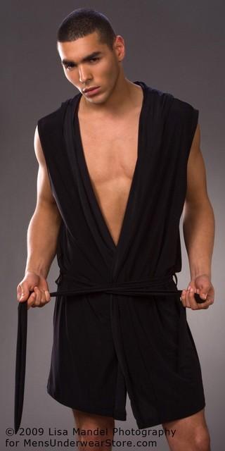 Roupão de banho Para Homens Atacado Peignoir Homme Homens Gays Sexy Robe Branco