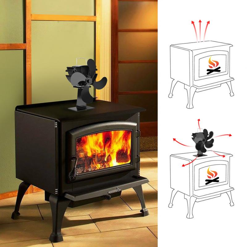 4 Blade Silent Eco-friendly Home Heat Powered Fan Mini Stove Fireplace Durable Mini Stove Fan free shipping cheap heat powered stove fan in black gold silver coppery blade