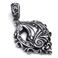 42 31mm Vintage Trendy Stunning Stainless Steel Pendant Necklaces Die Casting Crystal Horse Necklace With Chain
