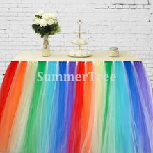 Rainbow 100cm Tulle Table Skirt Wonderland Table Tutu Skirting Wedding Birthday Baby Shower Home Banquet Party Decoration(China)