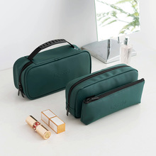 Fashion Portable waterproof PU Cosmetic Container wash bag outdoor travel pure color storage Zipper Make Up