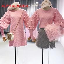 ALPHALMODA 2018 Winter New Stereoscopic Wool Ball Lantern-sleeve Cute Women Knit Dress Sweater Vestidos De Fiesta Pink Beige Kak