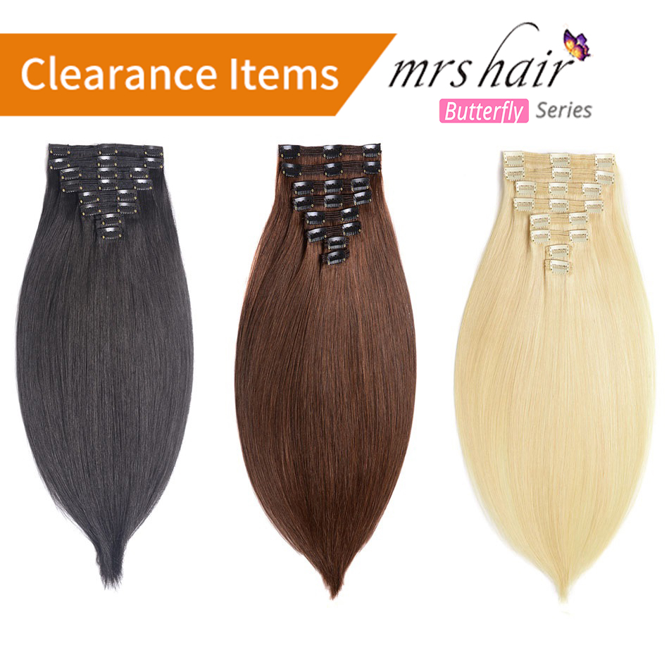 MRSHAIR 24 Inches Clip In Human Hair Extensions Straight 8pc Set Machine Made Remy Clip Ins Full Hair Brazilian Hair Blonde title=