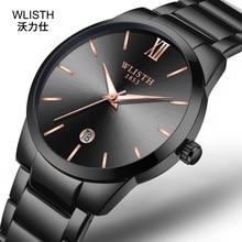 WLISTH Hot Minimalist Calendar Quartz Watch Stainless Steel Men Relogio Masculino Casual Business Male Clock Wristwatch
