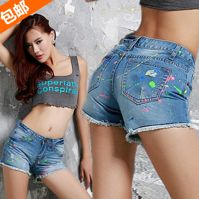 2013 denim shorts female slim plus size thin colored drawing doodle street cool