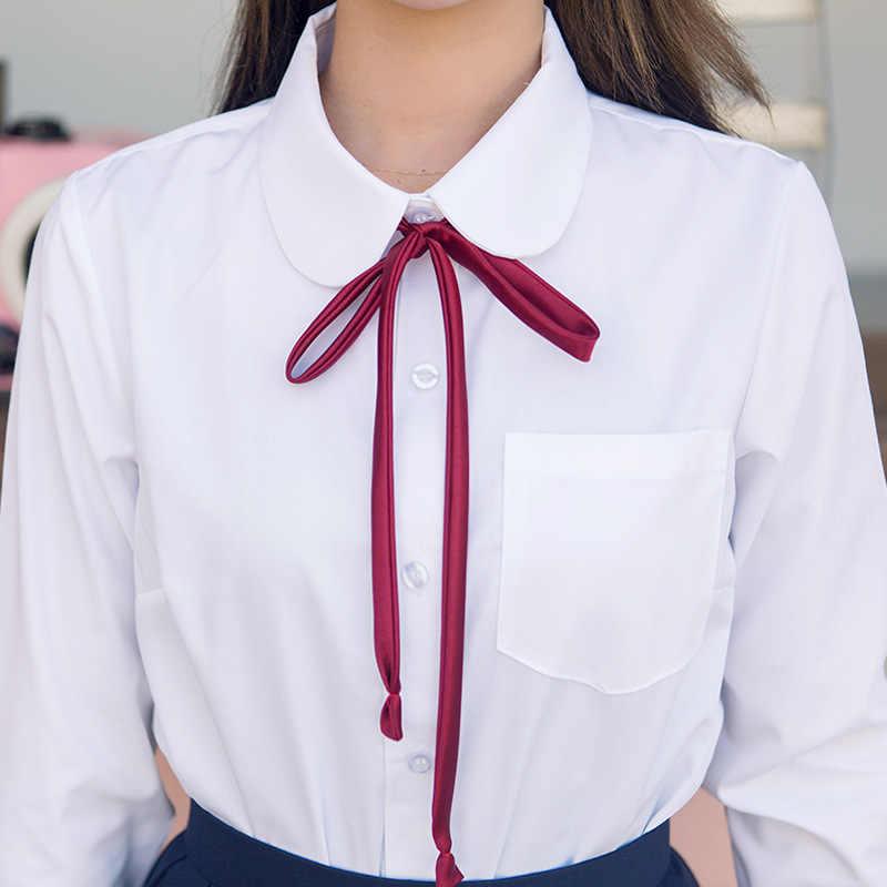 สาวเกาหลีสไตล์ชุดยาวเสื้อสีขาวเสื้อยืด Top Navy blue จีบกระโปรงสีแดง Ribbon Tie
