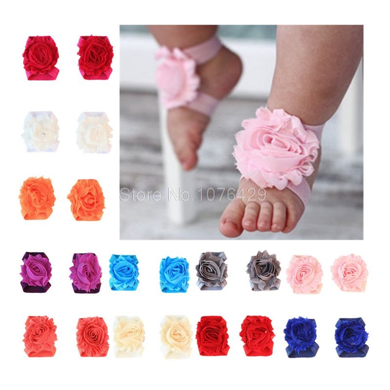 d123f52cc30fee 1 Pairs Newborn Baby Beautiful Sunflower Barefoot Sandals Wrist Foot Flower  Infant Toddler Shoes