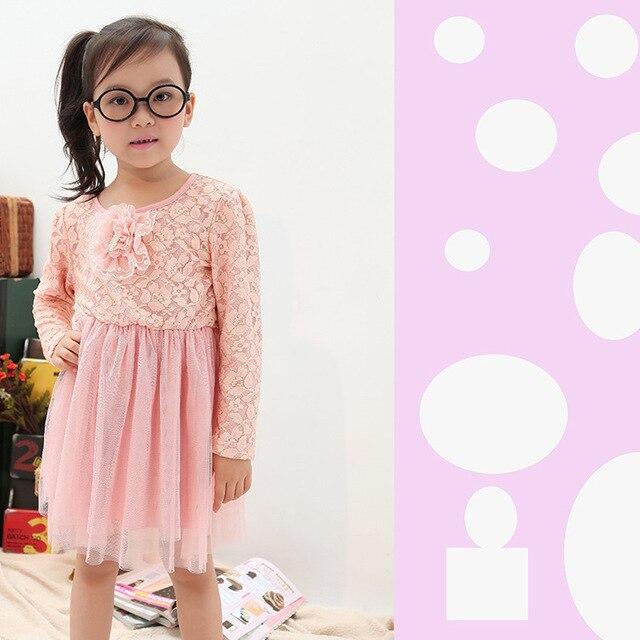 new arrival 2013 fall  Korean baby children's lace dress with big pearl flower wholesale princess dress,wholesale 5pcs/lot
