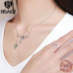 Image 2 - BISAER أصيلة 925 فضة الطنان تحية شجرة يترك قلادة القلائد الاسترليني والفضة والمجوهرات S925 GXN217