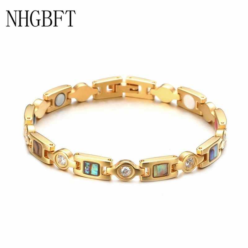NHGBFT Shell pattern Stainless Steel magnetic Bracelet For Women and Mens Healthy Germanium Element Anion Bracelet