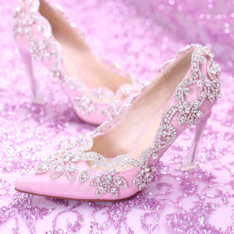 Pink diamond, silk face, bride's , high heels, fine heel crystal ...
