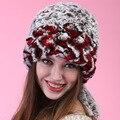 Otoño invierno súper warm winter mujeres genuine Rabbit fur Rex sombrero amor orejeras de conejo Rex casquillo de la señora sombrero de piel de lujo alta calidad
