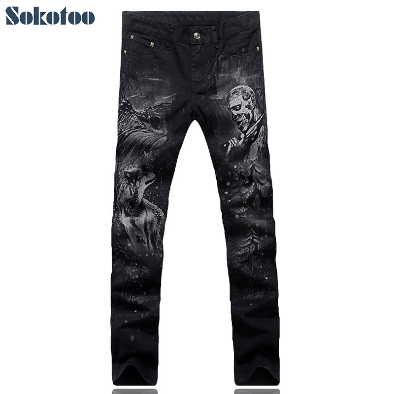 Sokotoo Men's fashion slim skull man wolf print   jeans   Casual black denim pants Long trousers