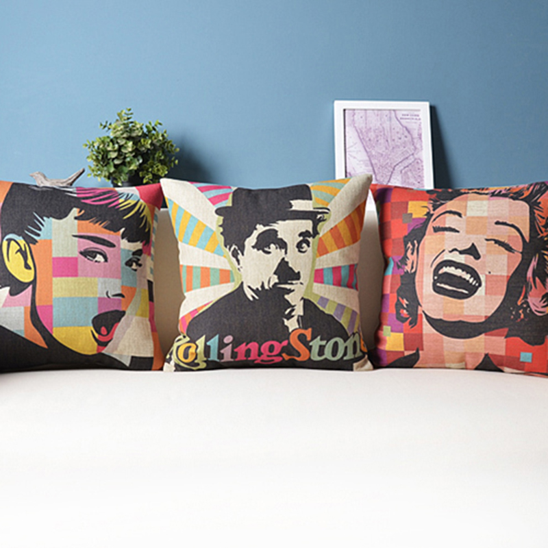 Hollywood Star Chaplin Audrey Hepburn Monroe Cushion Cover Famous Movie Star Pillows Case Home Decor 45x45cm cuscini vintage