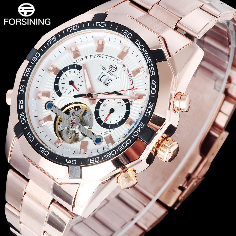 FORSINING fashion men mechanical tourbillion watches stainless steel band luxury skeleton gold wristwatches relogio masculino