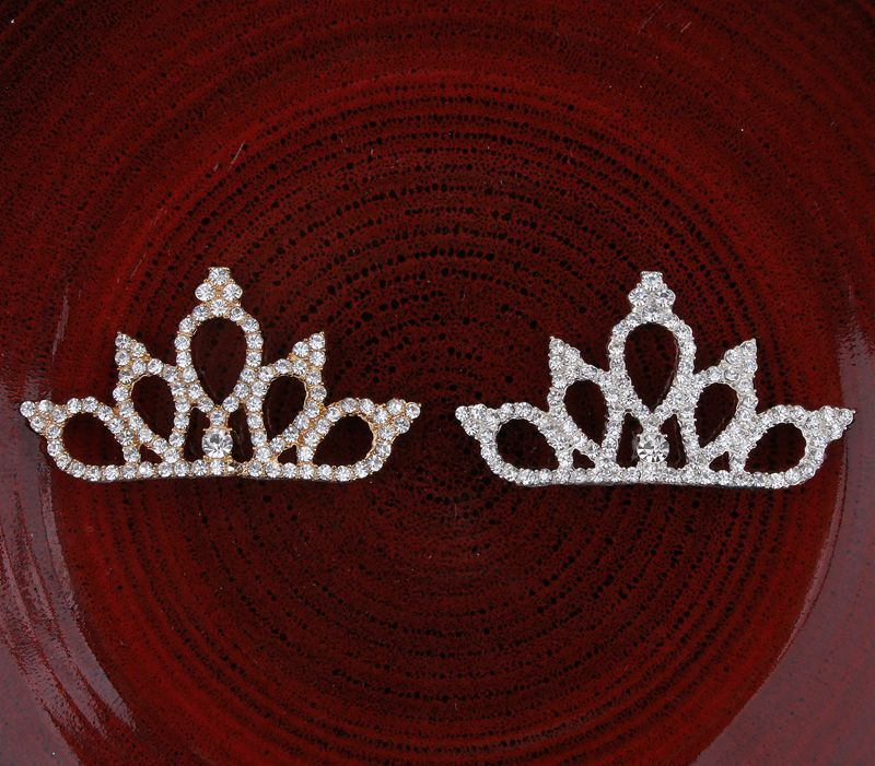 200pcs lot 2Colors Vintage Boutique Rhinestone Crown For Baby Hair Accessories Flat Back Alloy Tiara Button