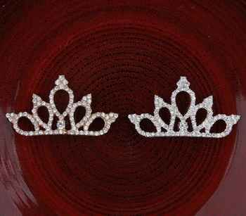 200pcs/lot 2Colors Vintage Boutique Rhinestone Crown For Baby Hair Accessories Flat Back Alloy Tiara Button For Enbellishment - DISCOUNT ITEM  18 OFF Home & Garden